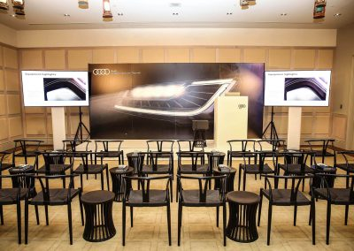 Table chairs conference room Audi A8 and S8 Media Launch