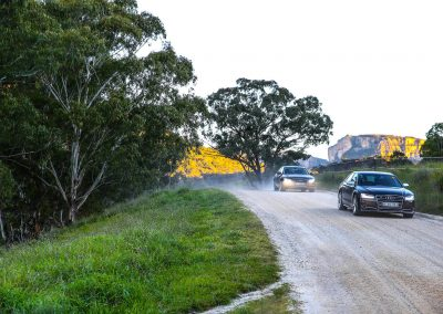 Cars driving on gravel road Audi A8 and S8 Media Launch