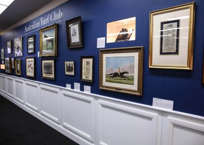 Picture frames on wall Australian Turf Club Heritage Exhibition
