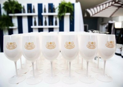 Goblets display on table Brown Brothers Summer of Prosecco Pop-Up Beach Bar