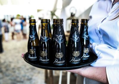 Bottles on plate Brown Brothers Summer of Prosecco Pop-Up Beach Bar