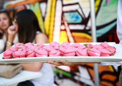 Macarons pink on plate Brown Brothers Summer of Prosecco Pop-Up Beach Bar