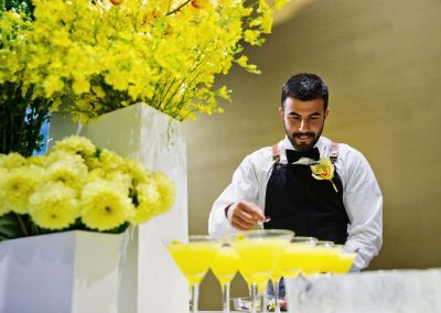 Barman making Marmalade martinis at the Bulgari Fiorever Launch