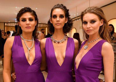 Models wearing Builgari diamond necklaces