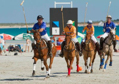 4 players on horse back Cable Beach Broome Polo Tournament