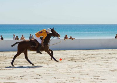 Player and horse Cable Beach Broome Polo Tournament