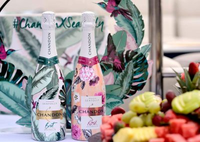 2 bottles display with fruit Chandon x Seafolly PR launch event