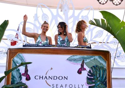 DJ and 2 female models swimsuits Chandon x Seafolly PR launch event