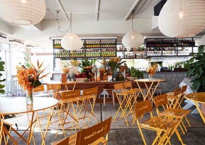Bar tables chairs Clicquot Beach Hut at Bondi Beach event