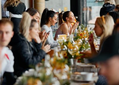 Guests enjoying brucnhc at the Clicquot Summer House