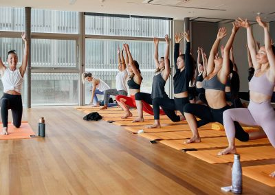 Group yoga session at the Clicquot Summer House