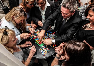 Guests building Lego blocks Credit Union Australia National Business Strategy