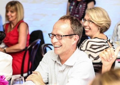 Guests laughing sitting at table Credit Union Australia National Business Strategy