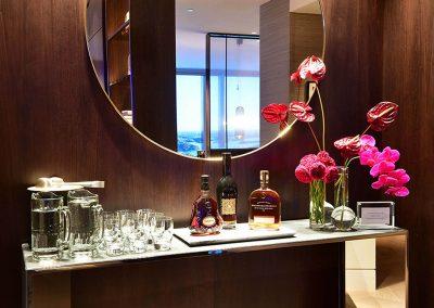 Bar display water cognac and whiskey Crown Resorts One Barangaroo launch
