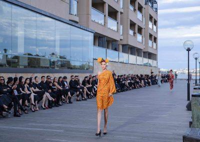 Model waling the runway at the Do Manh Cuong Back to Nature Fashion Parade