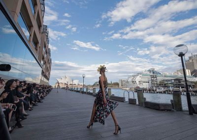 Model walking with Sydney Opera House as the backdrop in the Do Manh Cuong Back to Nature Fashion Parade