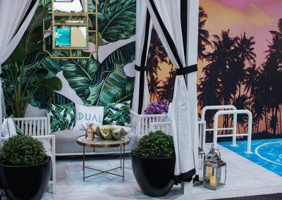Lounge coffee table display Dual Australia Exhibition Stand - Miami Poolside