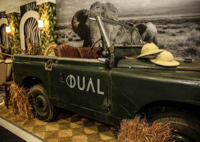Vintage car and safari hats Dual Australia Exhibition Stand Safari Glam