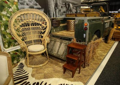 Display vintage car rotan chair Dual Australia Exhibition Stand Safari Glam