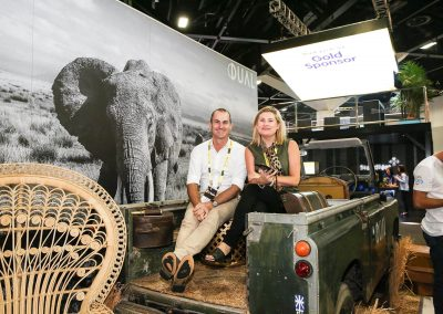 Guest sitting in vintage car Dual Australia Exhibition Stand Safari Glam