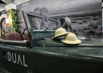 Close up vintage car and hats Dual Australia Exhibition Stand Safari Glam