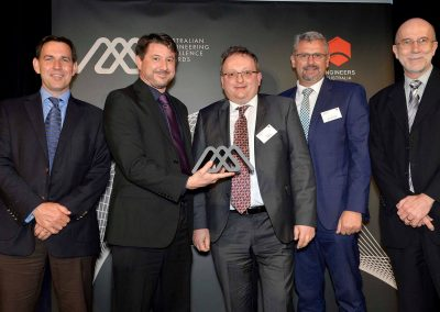 Group of men holding award Engineering Excellence Awards Roadshow