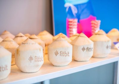Branded fresh coconuts at the the Free Your Fit FitBit event