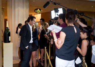Press interview Game, Set & Moet with Roger Federer