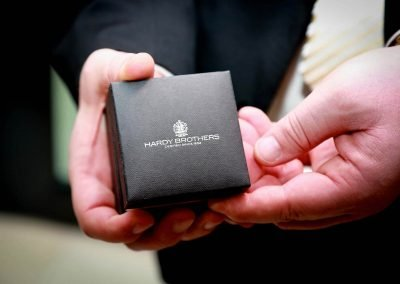 Close up hand holding jewellery box Hardy Brothers 160th Anniversary Celebration Dinner