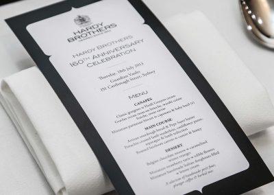 Menu Hardy Brothers 160th Anniversary Celebration Dinner