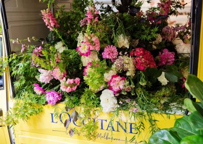 Floral display at the LOccitance Flagship Store Opening