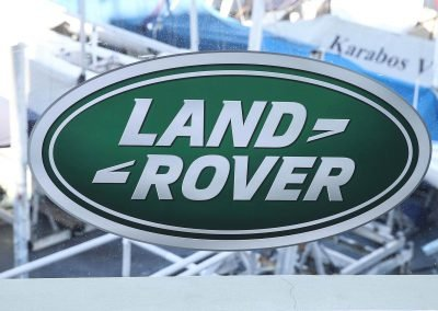 Close up logo Land Rover All-New Discovery Launch