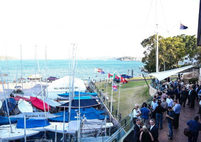 Guests outdoor at marina Land Rover All-New Discovery Launch