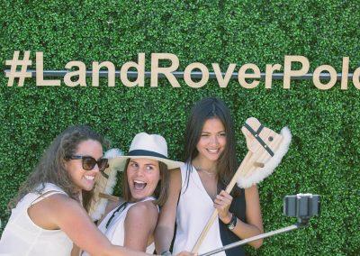 3 female models posing Land Rover Polo Club for Polo in the City English Polo Garden