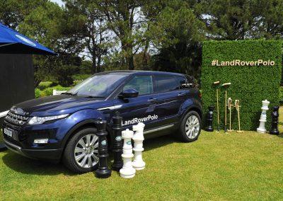 Car on lawn green wall display Land Rover Polo Club for Polo in the City English Polo Garden