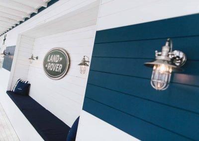 Land Rover logo on wall Polo Club for Polo in the City Hamptons Polo Club