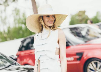Jennifer Hawkins in a big hat smiling Land Rover Polo Club for Polo in the City Miami