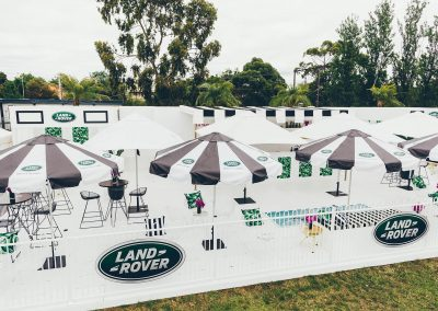 Pop up installation Players horses Land Rover Polo Club for Polo in the City Miami