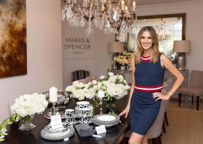Kate Waterhouse standing next to table Marks & Spencer Australian Online Store launch