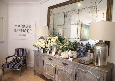 Display chair dresser lamp flower arrangements Marks & Spencer Australian Online Store launch