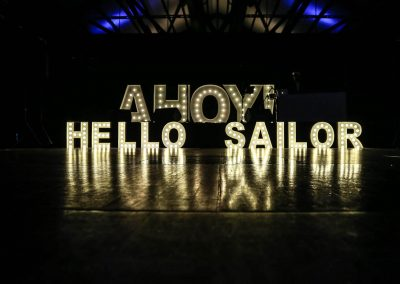 Light display letters Mirvac Christmas Party Ahoy Sailor Nautical