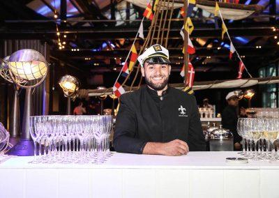 Bartender wearing sailor hat Mirvac Christmas Party Ahoy Sailor Nautical