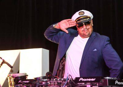 DJ wearing sailor cap Mirvac Christmas Party Ahoy Sailor Nautical