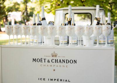 Bottles goblets display pop up Moet Dinner en Blanc National Sponsorship Activation
