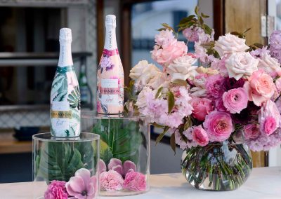 Display of champagne and flowers
