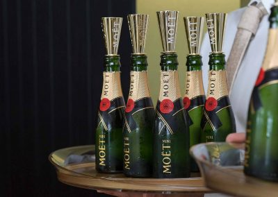 Display champagne bottles Moet Spring Champion Stakes Day VIP Corporate Hospitality Lounge