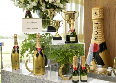 Display champagne bottles cup Moet Spring Champion Stakes Day VIP Corporate Hospitality Lounge