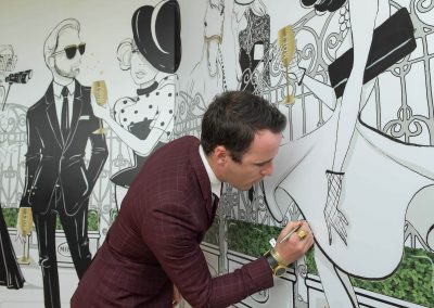 Guest drawing on wall Moet Spring Champion Stakes Day VIP Corporate Hospitality Lounge