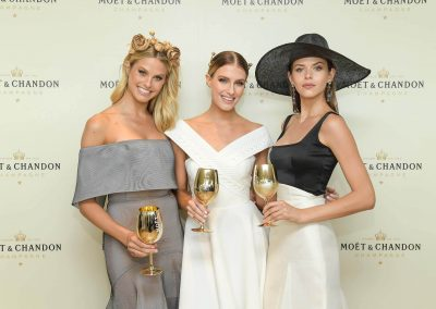 3 female models posing Moet Spring Champion Stakes Day VIP Corporate Hospitality Lounge