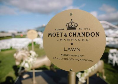 Metal sign Moet et Chandon Lawn at Melbourne Racing Club